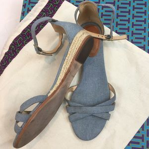 JCrew Chambray Denim Sandals 8.5